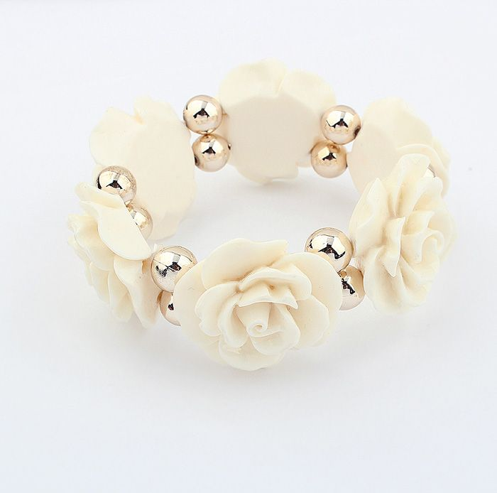 Vintage Beads Embellished Alloy Rose Shape Bracelet
