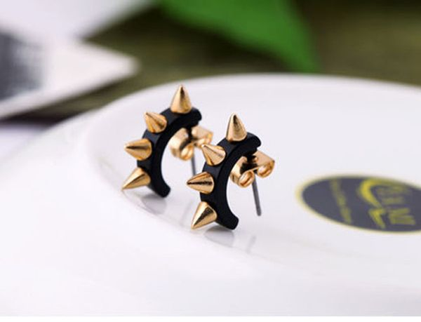 Pair of Punk Rivet Camber Shape Stud Earrings