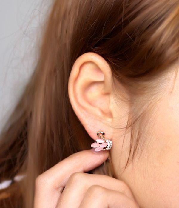 Pair of Cute Rhinestone Opal Cygnet Earrings For Women