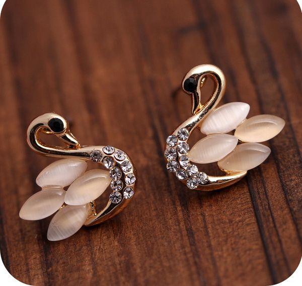 Pair of Cygnet Rhinestone Faux Opal Stud Earrings