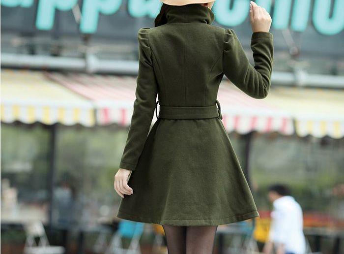 Turn-Down Collar Wool Blend A Line Coat With Belt