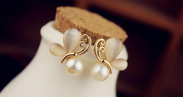 Pair of Butterfly Faux Opal Beads Earrings