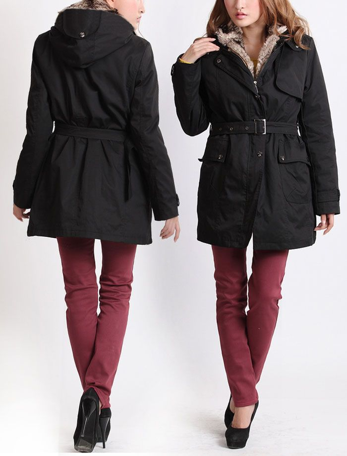 Long Sleeves Hooded Thickened Lined Waistband Beam Waist Pockets Korean Style Casual Women's Coat