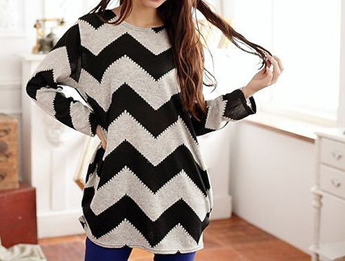 Long Sleeves Scoop Neck 2-Toned Ripple Pattern Long Sections Plus Size Women's T-shirt