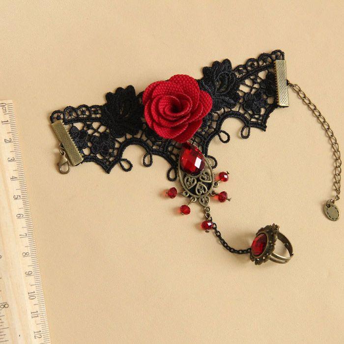 Vintage Gemstone Flower Lace Bracelet With Ring