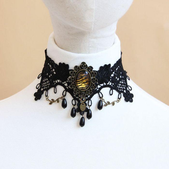 Retro Faux Pearl Leopard Pattern Lace Flower Women's Necklace