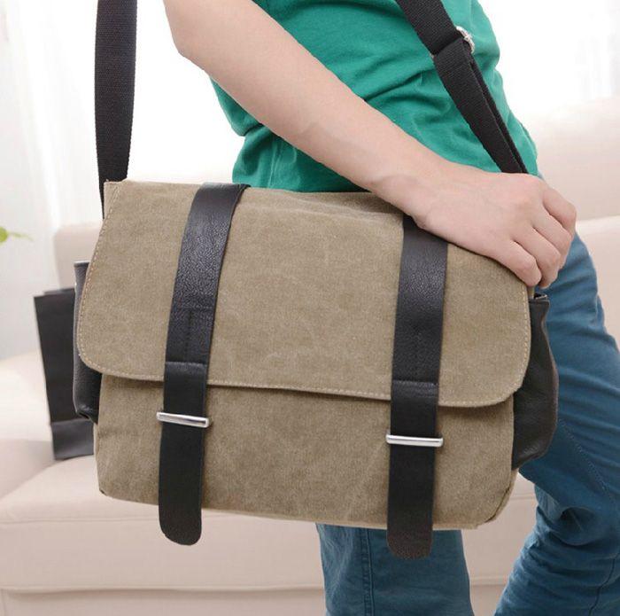 Concise Splice anf Metallic Design Men's Messenger Bag