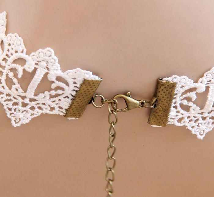 Elegant Faux Pearl Pendant Lolita Lace Necklace For Women
