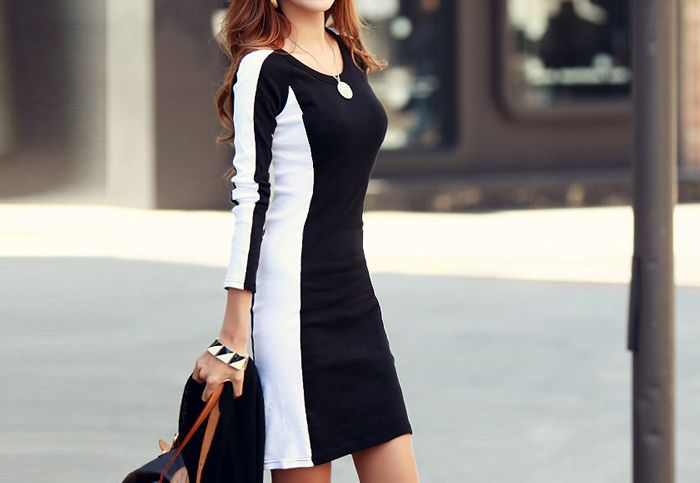 Casual Style Scoop Neck Long Sleeves Color Block Polyester Women's Dress