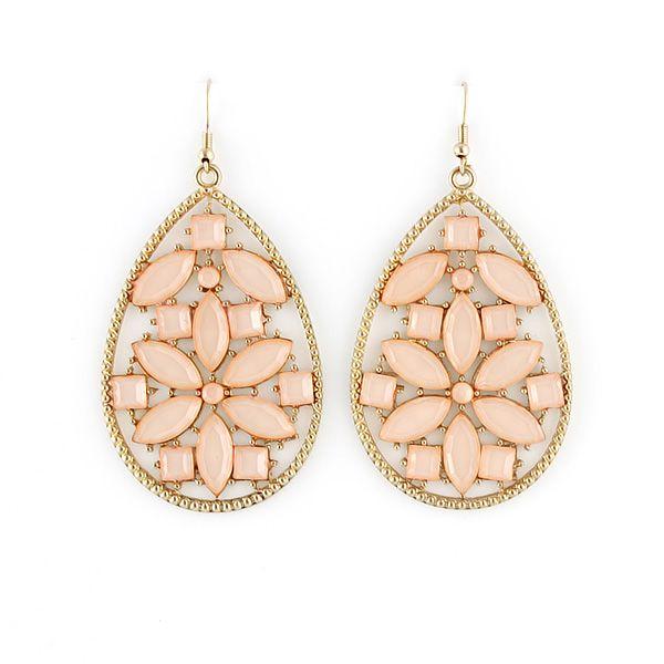 Pair of Bohemian Faux Gem Waterdrop Shape Earrings For Women