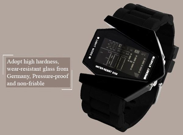 30M Waterproof Rubber Band 7-colors LED Watch with Numbers Hour Marks Bomber Shaped