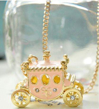 Pretty Pink Princess Carriage Necklace