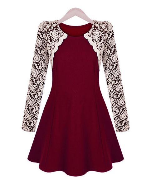 Sophisticated Round Collar Color Block Embroidery Lace Long Sleeves Pleated Dress For Women