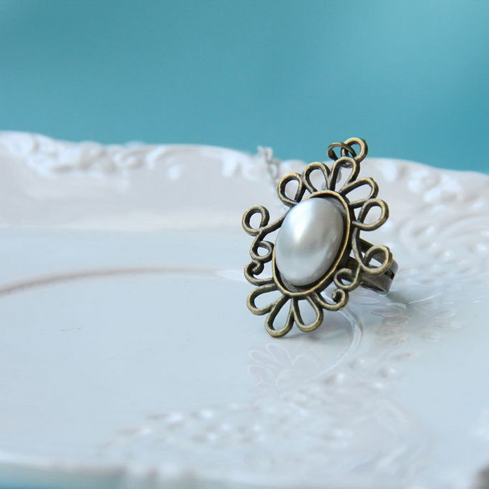 Faux Pearl Embellished Charm Lace Bracelet With Ring