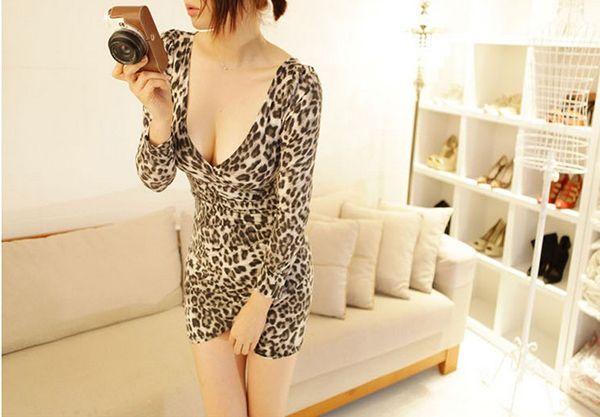 Low-Cut V-Neck Leopard Print Long Sleeves Alluring Women's Bodycon Dress