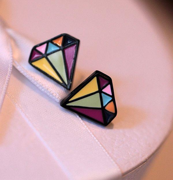 Pair of Ethnic Glazed Diamond Shape Earrings
