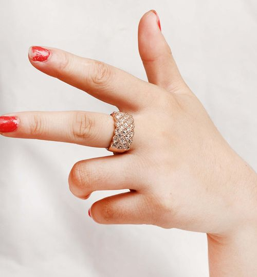 Chic Rhinestone Embellished Wide Alloy Ring For Women