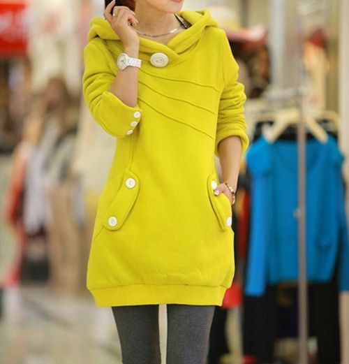 Casual Hooded Button Pocket Splicing Long Sleeves Thickened Loose-Fitting Women's Hoodie