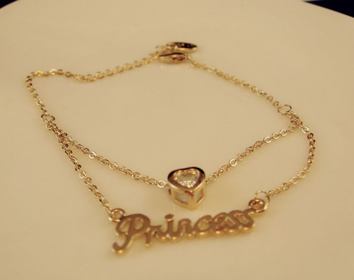 Rhinestoned Heart and Letter Shape Multi-Layered Alloy Necklace For Women