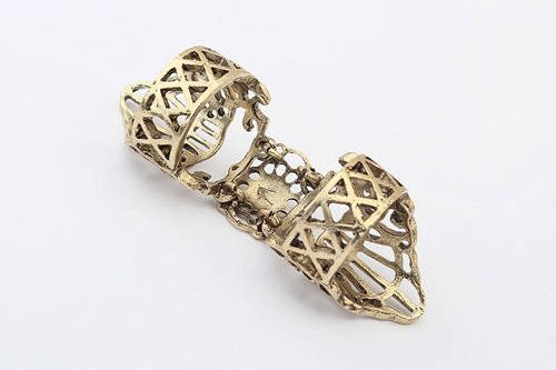 Punk Openwork Pattern Digital Joints Movable Ring