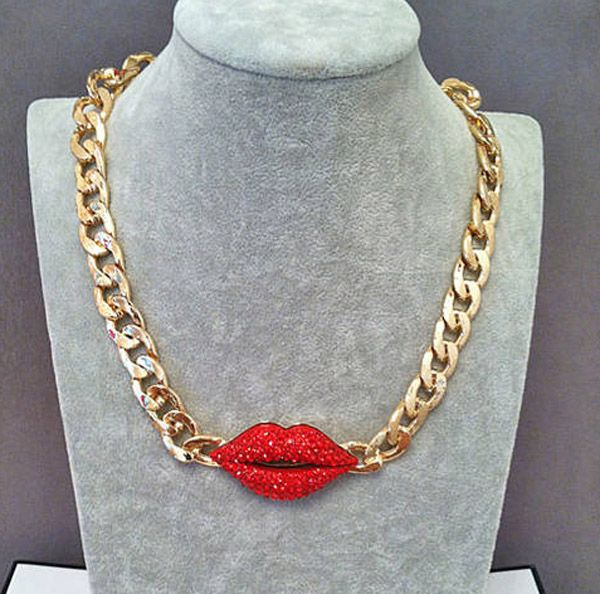 Exaggerated Red Diamante Lip Pendant Thick Alloy Necklace For Women