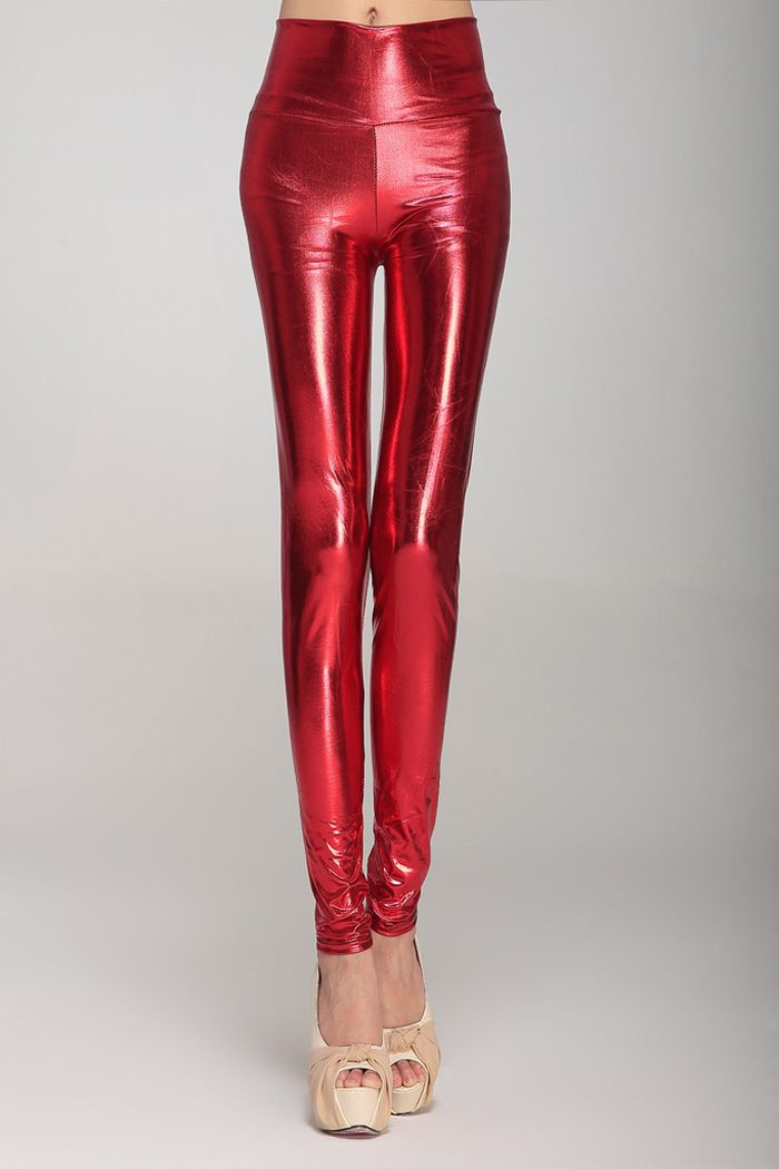 Fashionable High Waist Solid Color PU Leather Skinny Leggings For Women