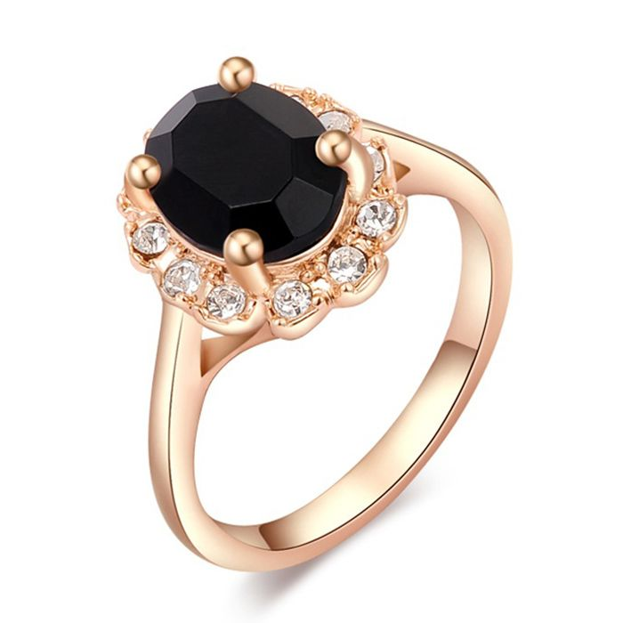 Simple Diamante Black Faux Gemstone Embellished Alloy Ring For Women