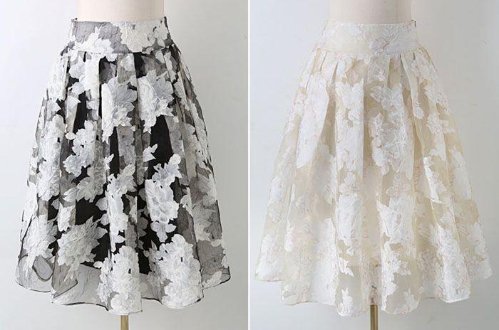A Line Floral Organza Midi Skirt