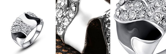 Chic Diamante Color Patchwork Wide Alloy Ring For Women