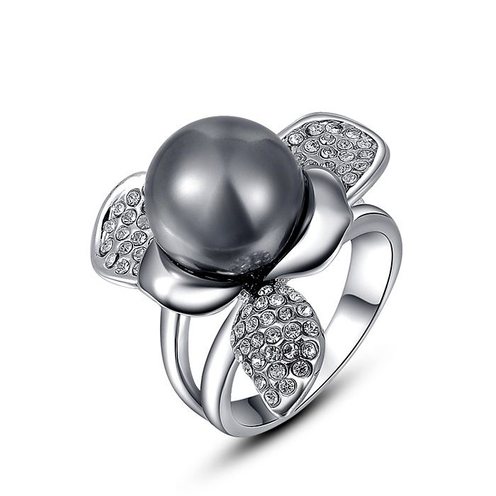 Chic Diamante Big Gray Faux Pearl Embellished Alloy Ring For Women