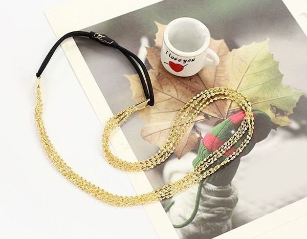 Chic Golden Multilayered Alloy Hairband For Women