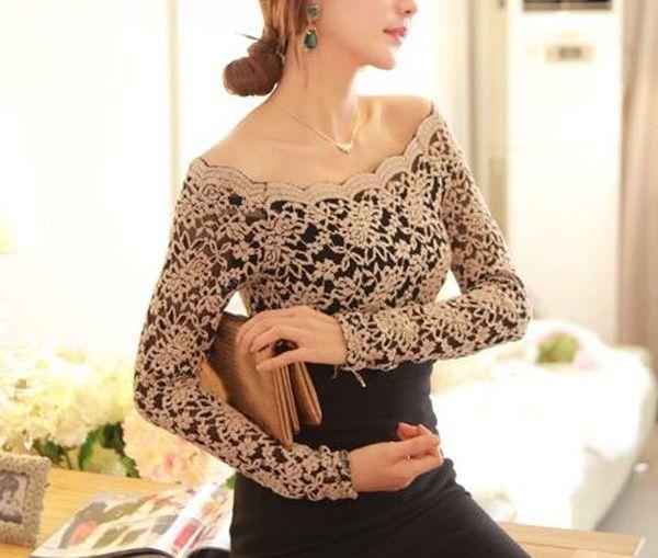 Stylish Slash Neck Solid Color Long Sleeve Women's T-shirt