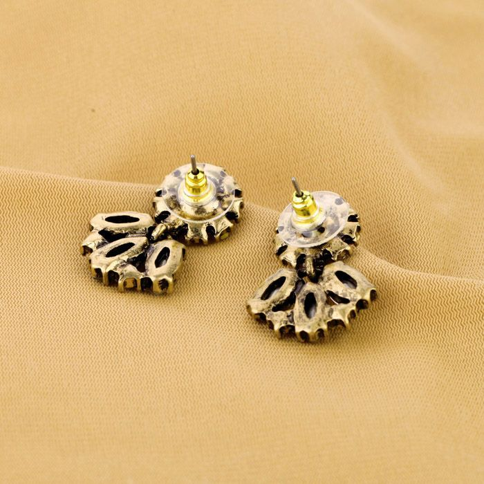Pair of Vintage Color Intrigue Rhinestone Embellished Earrings For Women
