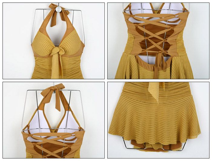 Sexy Halterneck Backless Drawstring Ruffled Lace One-Piece Swimwear For Women