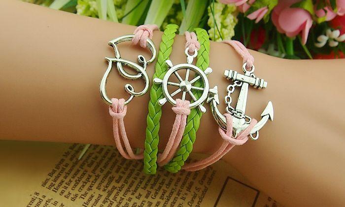Heart Rudder Anchor Multilayered Bracelet