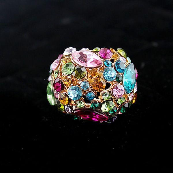 Statement Colorful Rhinestone Ring