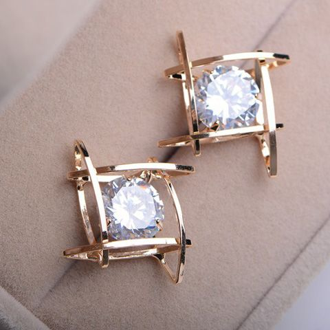 Pair of Faux Gemstone Hollow Out Earrings