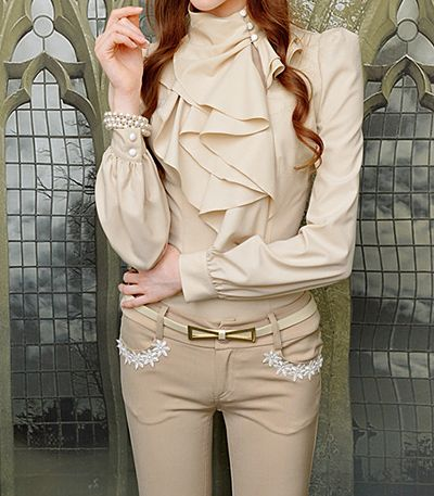 Vintage Turtleneck Ruffles Solid Color Long Sleeves Women's Blouse