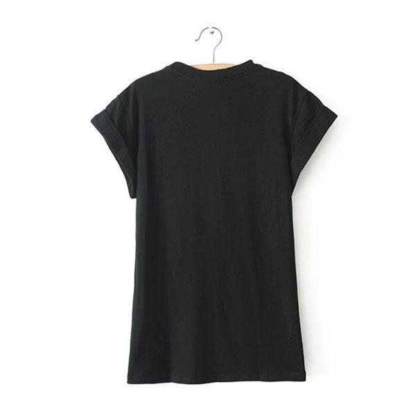 Letter Print Simple Style Short Sleeve Slimming Scoop Neck Women's T-shirt