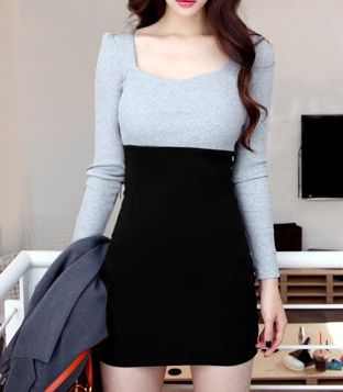 Two Tone Long Sleeve Cotton Sheath Dress