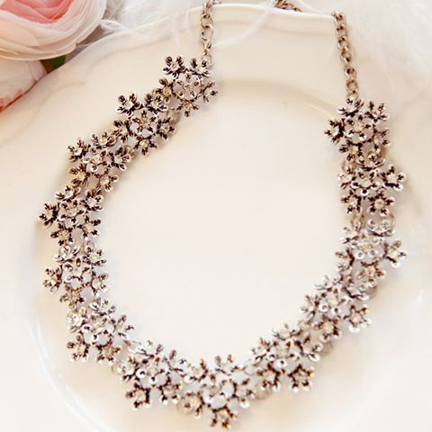 Alloy Diamante Flower Necklace