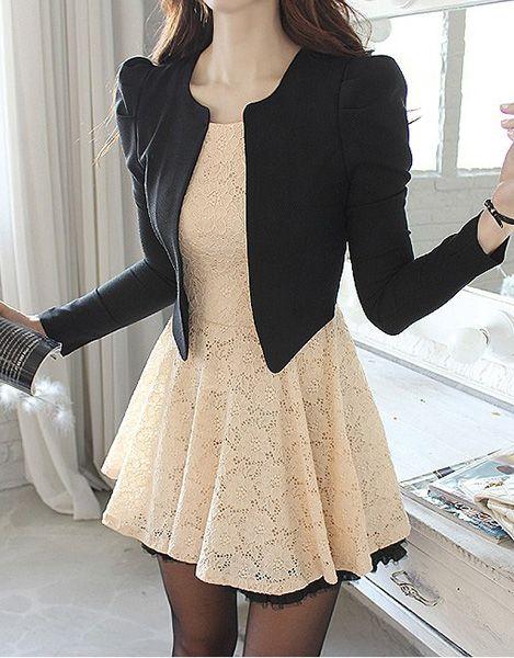 Ladylike Style Long Sleeve Round Collar Lace Zipper Women's Faux Twinset