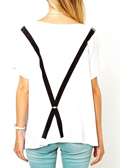 Casual Style Round Collar Short Sleeve Braces Bow-Tie Print Women's T-shirt