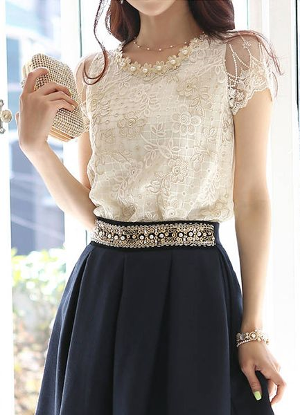 Refreshing Scoop Neck Faux Pearl Beaded Embellished Lace Splicing Women's Blouse