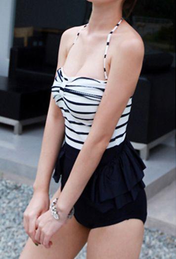 Vintage Halterneck Ruffled Stripe Color Matching One Piece Women's Swimsuit