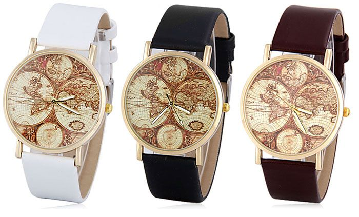 Stylish Quartz Watch with Map Analog Indicate Leather Watch Band for Women
