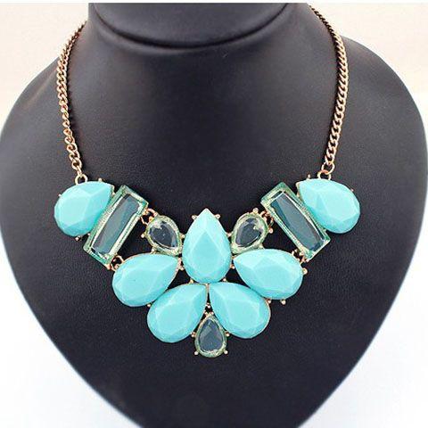 Rhinestoned Waterdrop Shape Pendant Necklace
