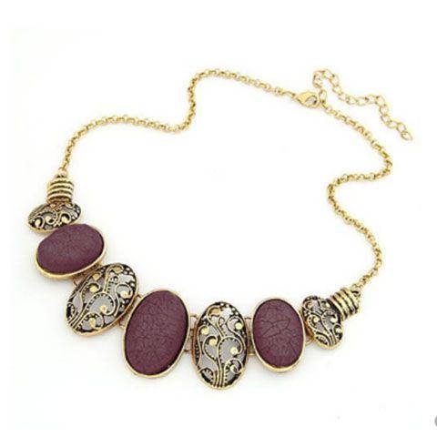 Vintage Delicate Openwork Pattern and Faux Gem Design Women's Oval Pendants Necklace