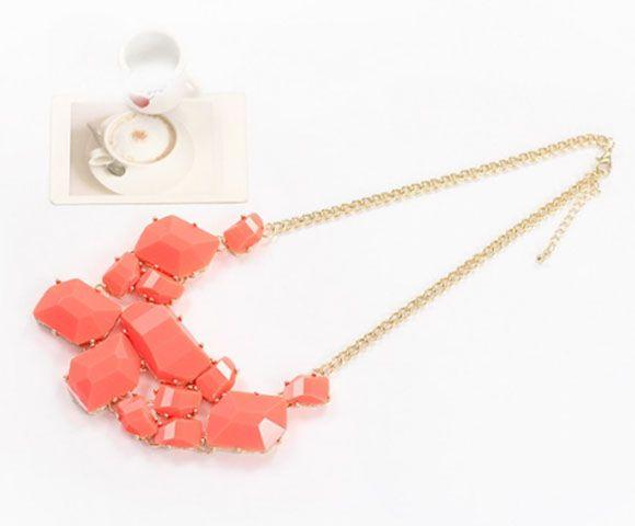 Irregular Geometric Faux Gems Necklace