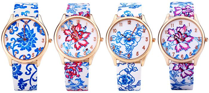 Genuine Quartz Watch with Chinese Flower Pattern Analog Indicate and Leather Watchband for Women